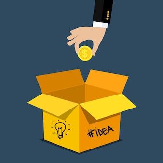 Concepto de crowdfunding. modelo de negocio moderno: proyecto de financiación mediante la recaudación de contribuciones monetarias de multitud de personas