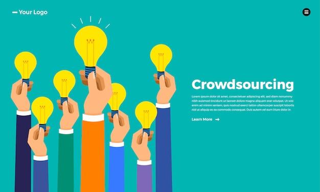 Concepto de crowdsourcing. ilustrar.