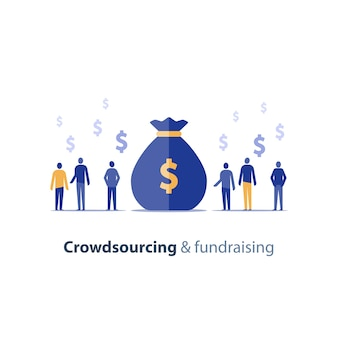 Concepto de crowdsourcing y recaudación de fondos, puesta en marcha de oportunidades comerciales, finanzas corporativas, grupo de personas