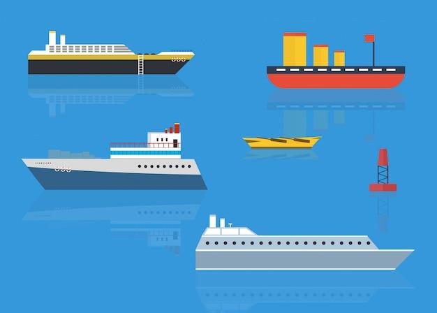 Concepto de crucero por mar u océano en estilo.