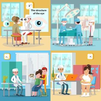 Concepto cuadrado de atención médica