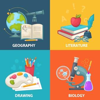 Concepto cuadrado colorido escuela