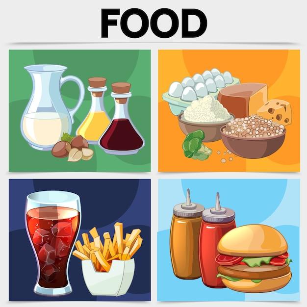 Concepto cuadrado de comida de dibujos animados