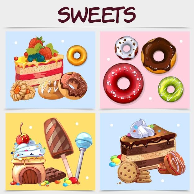 Concepto cuadrado de dulces de dibujos animados