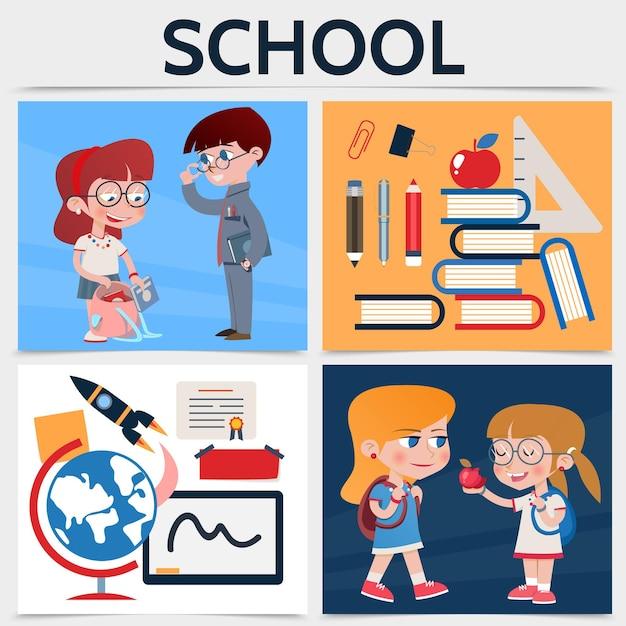 Concepto cuadrado de escuela plana con niños niñas globo cohete certificado pegatinas lápiz marcador pluma regla apple libros clip ilustración