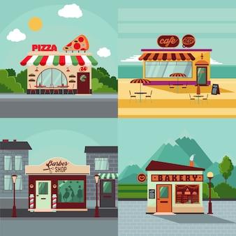 Concepto cuadrado de fachadas de edificios coloridos