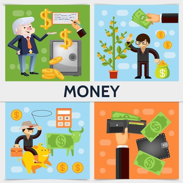 Concepto cuadrado de finanzas planas con hombres de negocios dinero seguro árbol dólar vaca calculadora billetera bolsa de monedas