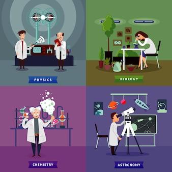 Concepto cuadrado de investigación científica plana