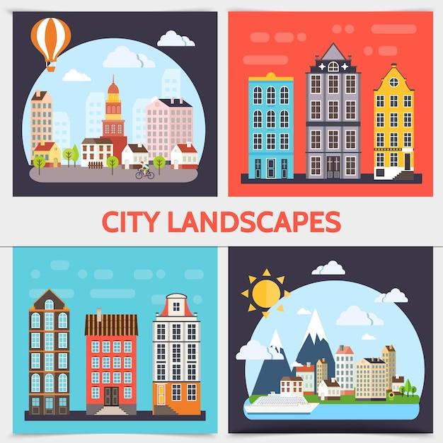 Concepto de cuadrado de paisaje de ciudad plana con edificios nubes sol árboles barco e ilustración de globo de aire caliente