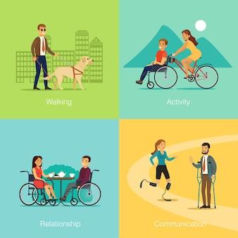 Concepto cuadrado de personas con discapacidad