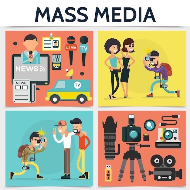 Concepto cuadrado plano de los medios de comunicación con paparazzi fotografiando personas reportero y fotógrafo