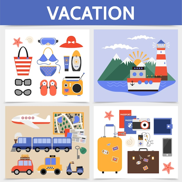 Concepto cuadrado plano de vacaciones de verano