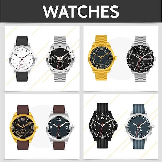 Concepto cuadrado de relojes caros clásicos planos con ilustración de pulseras de cuero y metal dorado plateado