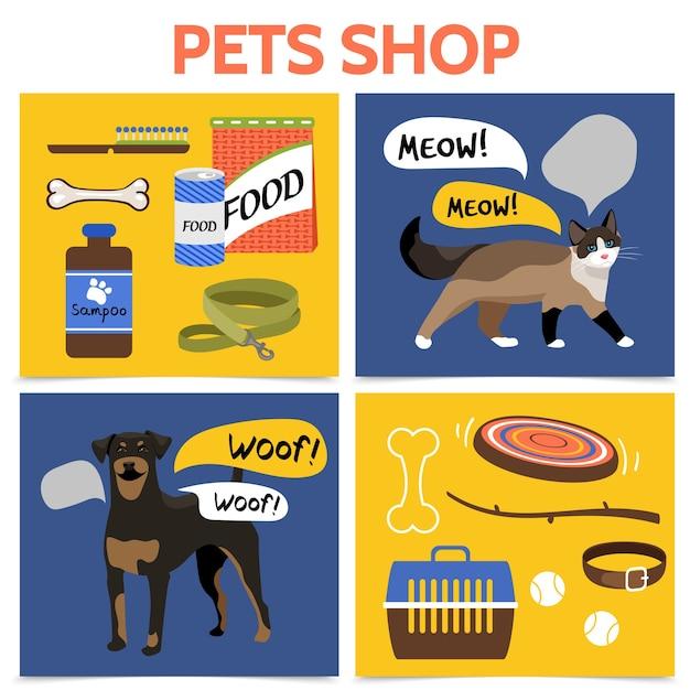 Concepto cuadrado de tienda de mascotas plana