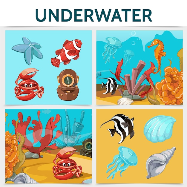Concepto cuadrado de vida submarina de dibujos animados