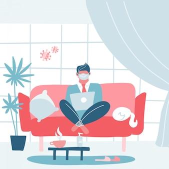 Concepto de cuarentena de coronavirus. trabajando desde casa. hombre sentado en el sofá o sofá y trabajando en la computadora portátil. interior moderno ilustración de dibujos animados plana