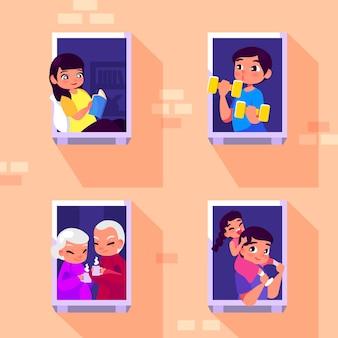 Concepto de cuarentena de personas en balcones