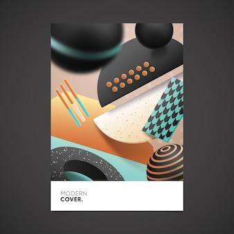 Concepto de cubierta de formas geométricas 3d