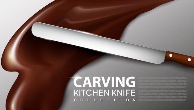 Concepto de cuchillo de cocina de talla realista