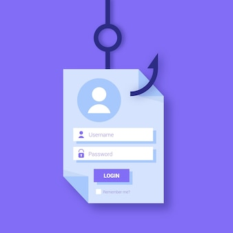 Concepto de cuenta de phishing con gancho
