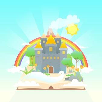 Concepto de cuento de hadas con arco iris