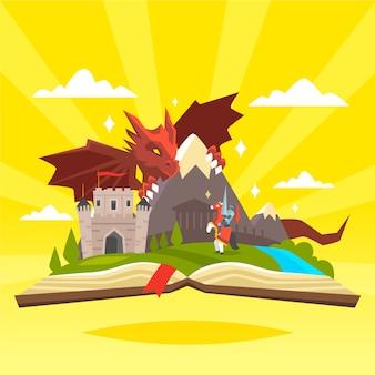 Concepto de cuento de hadas con castillo y dragón