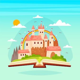 Concepto de cuento de hadas con castillo en un libro