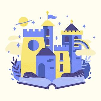 Concepto de cuento de hadas con castillo en libro