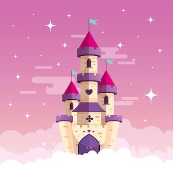 Concepto de cuento de hadas con castillo en las nubes