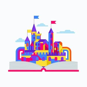 Concepto de cuento de hadas con castillo