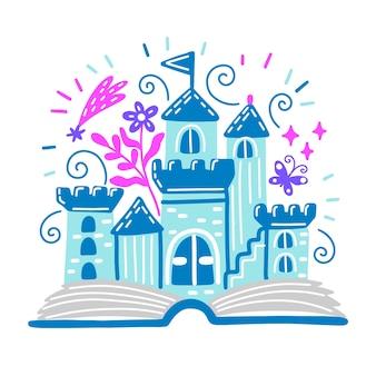 Concepto de cuento de hadas con concepto de castillo