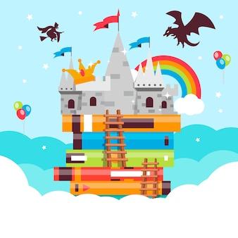 Concepto de cuento de hadas con dragón y arco iris sobre el castillo