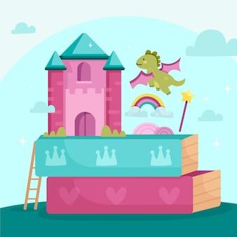 Concepto de cuento de hadas con dragón y castillo