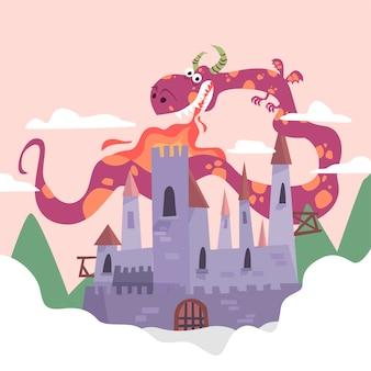 Concepto de cuento de hadas con dragón