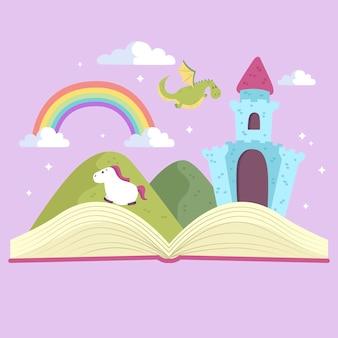 Concepto de cuento de hadas con libro abierto y castillo