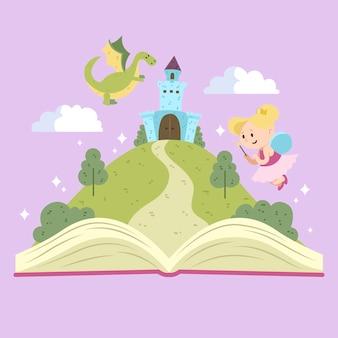 Concepto de cuento de hadas con libro abierto