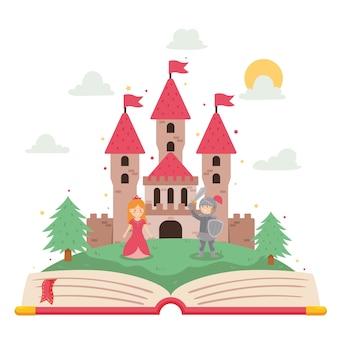 Concepto de cuento de hadas con libro