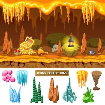 Concepto de cueva del tesoro colorido juego isométrico