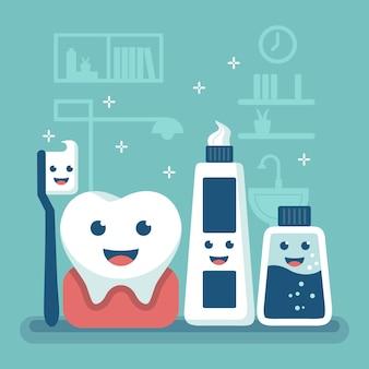 Concepto de cuidado dental de dibujos animados