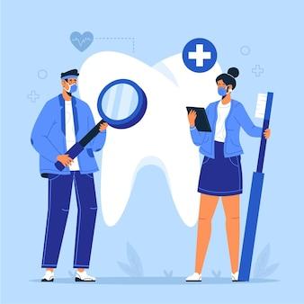 Concepto de cuidado dental ilustrado