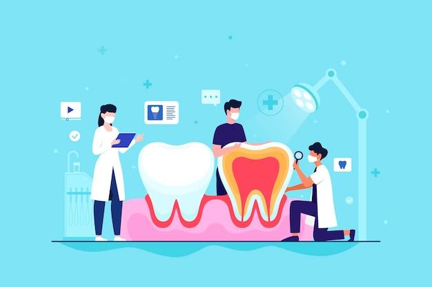 Concepto de cuidado dental plano con dientes