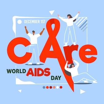Concepto de cuidado y día mundial del sida
