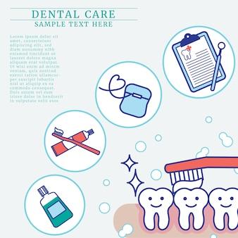 Concepto de cuidado de los dientes con espacio de copia