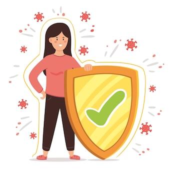 Concepto de cuidado de virus mujer y escudo