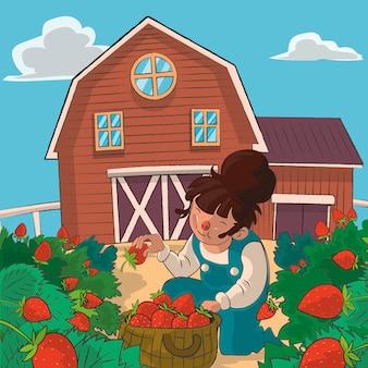 Concepto de cultivo con cosecha de fresas