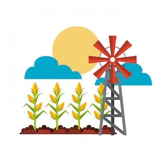 Concepto de cultivo y molino de viento.