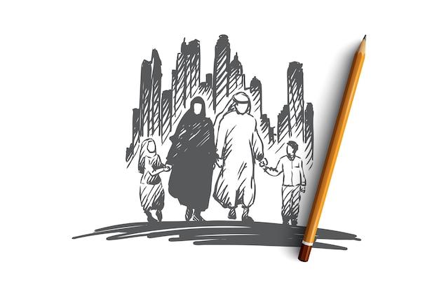 Concepto de cultura árabe, familiar, musulmana. dibujado a mano familia árabe tradicional con el bosquejo del concepto de niños.