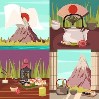 Concepto de cultura de japón iconos ortogonales