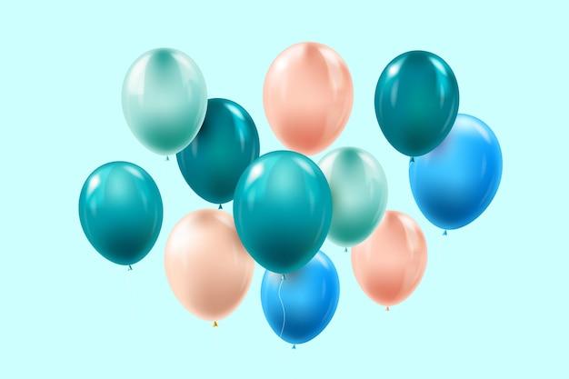 Concepto de cumpleaños de globos realistas