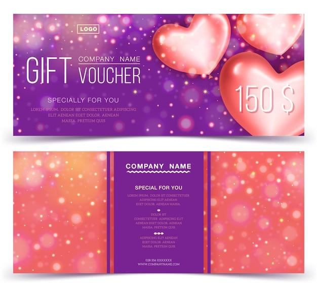 Concepto de cupón de regalo, banner, flyer, ticket de invitación. dos lados del diseño del vale de descuento o del certificado de regalo.